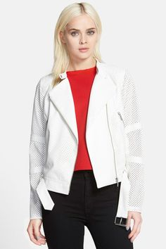 Trouve Perforated Biker Jacket