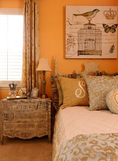 Orange Bedroom Design with Classic Birds Wall Art