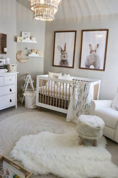 LOVE the bunny prints in this cute nursery