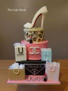 Designer Shopping inspired cake by Zoe Robinson