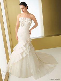 Elianna Moore wedding gown 2011 - Bariza taffeta mermaid style strapless wedding dress accented with ruffles