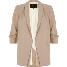 River Island Beige ruched sleeve blazer (1,400 MXN) ❤ liked on Polyvore featuring outerwear, jackets, blazers, river island, blazer jacket, ruched-sleeve blazer, button jacket and 3/4 sleeve blazer