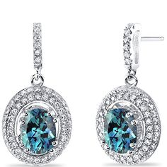 Revoni Simulated Alexandrite Halo Dangle Earrings Sterling Silver 3.50 Carats…