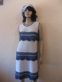 Knitted WhiteNavy DressCrocheted Viscose Summer by TalitaHandMade, $110.00