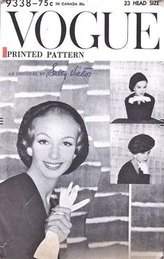 1950s Hat Pattern Vogue 9338 Sally Victor Flirty Beret Hat With Back Bow Three Ways To Wear Vintage Sewing Pattern
