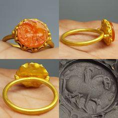 MATERIAL 23k Gold, agate stone = Roman. 8.7 US fingersize. | eBay!