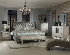 glossy-dark-grey-cushion-headboard-bedroom-sets-for-royal-queen-master-bedrooms