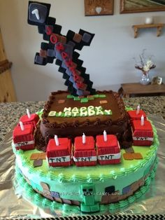 For my Minecraft cake I made an 8 inch chocolate cake with homemade chocolate frosting and a 14 inch white cake with homemade buttercream frosting.  ...