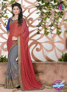 SC 13081 Red and Grey Jacquard and Georgette Party Wear Designer Saree