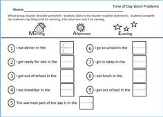 Worksheet for Morning, Afternoon Evening, Part of the Time packet located at Teachers Pay Teachers Claire Guidry.  Packet is Common core Based Early elementary. K and 1st grades.