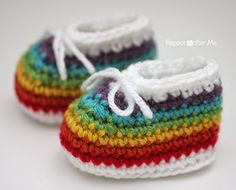 Repeat Crafter Me: Crochet Rainbow Baby Booties made with Clover Amour Crochet Hooks
