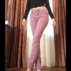 Burgundy Zara Skinny Jeans Excellent condition, no rips, stains or tears. Grew out of them so they need a new home Zara Jeans Skinny