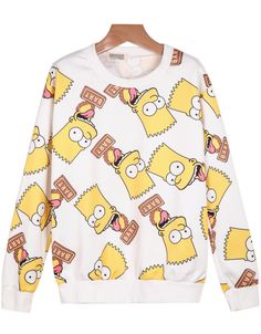 White Long Sleeve Simpson Print Loose Sweatshirt - Sheinside.com