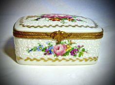 Signed Limoges France French Large Chest Trinket Box Peint Main Limoge Roses