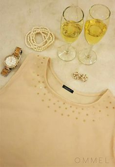 Champagne: Embellished high low pure silk georgette top by Ommel
