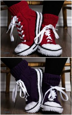 Crochet Patterns Crochet Converse Slippers Free Tutorial Video Tutorial - Knitting and . - Crochet Patterns Crochet Converse Slippers Free Tutorial Video Tutorial – Knitting and …, - Crochet Boots, Crochet Slippers, Crochet Clothes, Knitted Slippers, Knit Slippers Pattern, Crotchet Socks, Knitted Socks Free Pattern, Kids Slippers, Crochet Crafts