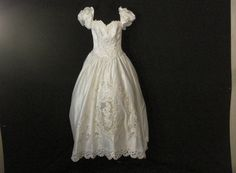 White Satin Wedding Gown Pearls Cutouts Puff sleeves Elegant Chic Alfred Angelo S