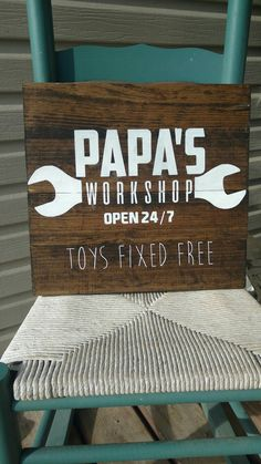 Grandparents gift papa's workshop sign can be by MamaSaysSigns