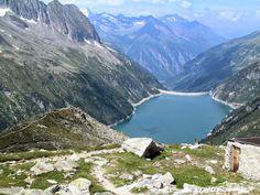 Photograph from the Plauener Hutte looking down Zillergrund. Mayrhofen, Austria.