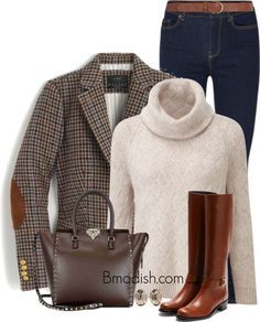 A fashion look from November 2016 featuring pink top, blazer jacket and blue jeans. Browse and shop related looks. Preppy Fall Fashion, Preppy Fall Outfits, Country Fashion, Casual Winter Outfits, Classy Outfits, Chic Outfits, Autumn Fashion, Fashion Outfits, Preppy Style Winter