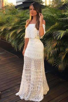 Vestido-Trico-Longo-Ombro-a-Ombro-Branco | Galeria Tricot - Galeria Tricot