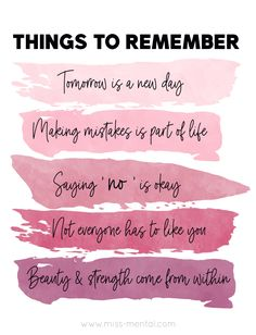 Things to remember i