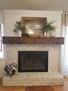 Image Result For Whitewashed Brick And Shiplap Fireplace With Tv Over Mantle Rustic Farmhouse Living Room Farm House Living Room Home Fireplace