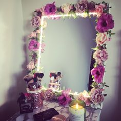 My DIY flower light up mirror - I bought all the bits separately from a shop called The Range - the led lights are also from the range. I LOVE IT - My DIY flower light up mirror - I bought all Deco Led, Flower Mirror, Fleurs Diy, Flower Lights, Beauty Room, My New Room, Diy Flowers, Diy And Crafts, Room Crafts
