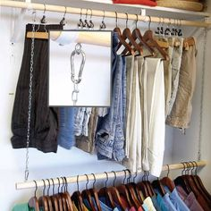 Add-On Clothes Rod. Hang a second clothes rod from the upper rod with lightweight chain. Attach the chain to screw eyes directly or use S-hooks or carabiners. Carabiners make adjusting the height of the extra rod a snap.