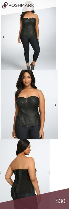 """Zip Front Corset Top Brand new, with tags  Torrid size 1 = Women's standard 1X  • Black faux-leather  • Zippered front   • Faux suede lace up back     Model is 5'11"""", size 1  Size 1 measures 17"""" from center front  Rayon, nylon, spandex; lining: polyester  Wash cold, line dry torrid Tops"""