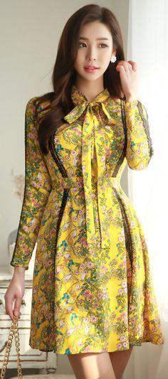 StyleOnme_Floral Print Ribbon Neck Tie Flared Dress #yellow #floral #spring #dress #ribbon #cute #feminine #koreanfashion #kstyle #seoul