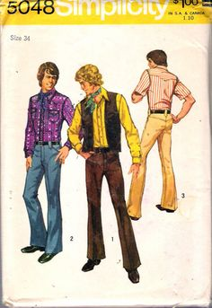 """Vintage 1972 Simplicity 5048 Men's Shirt Vest Pants Sewing Pattern Size 34 Chest 34"""" UNCUT by Recycledelic1 on Etsy"""