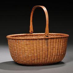 Oval Swing-handled Nantucket Basket | Sale Number 2757B, Lot Number 265 | Skinner Auctioneers Red Basket, Flower Basket, Weaving Art, Hand Weaving, Bountiful Baskets, Native American Baskets, Nantucket Baskets, Basket Crafts, Wicker Baskets