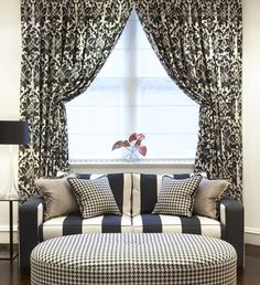 black, white, stripes, houndstooth, prints - living room