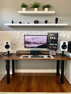 Gaming Room Setup, Computer Setup, Pc Setup, Desk Setup, Home Studio Setup, Home Office Setup, Home Office Space, Bedroom Setup, Video Game Rooms