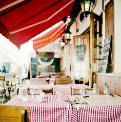 Cafe in Montmartre - Paris, France Cafe Bistro, Cafe Bar, Brasserie Paris, Café Exterior, Restaurants, Sidewalk Cafe, Outdoor Cafe, Outdoor Dining, Little Lunch