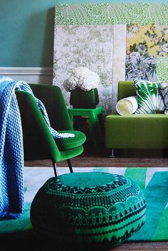 Green chairs and pouf, British Elle Decor, via aged and gilded