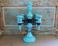 Candelabra Turquoise Wooden Metal Distressed Upcycled by turquoiserollerset on Etsy