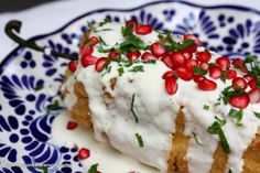 Chile en Nogada with Cilantro and Pomegranate Seeds