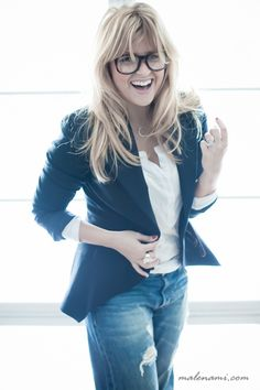love the blazer and jeans with the geek chic glasses
