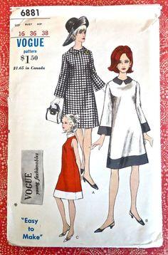 Vogue 6881  Vintage 1960s Womens ALine Dress Pattern by Fragolina, $15.00