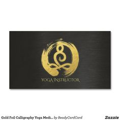 Gold Foil Calligraphy Yoga Meditation ZEN Symbol Business Card