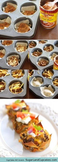 Taco cupcakes! Veganize with TJ's cheez and TVP crumbles! Would this work with tortillas cut into little circles Hmmm
