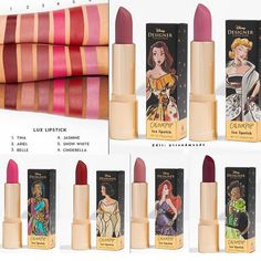 ColourPop x Disney Lux Lipsticks - make_up_pintennium Makeup Dupes, Makeup Brands, Skin Makeup, Makeup Cosmetics, Beauty Makeup, Drugstore Beauty, Colourpop Lipstick, Lipgloss, Lipstick Set