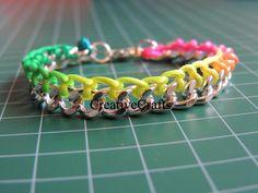 Tutorial Pulsera de cadena con cola de raton fluor. DIY Bracelet chain fluor.
