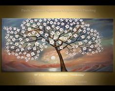 "Awakening Tree 48"" x 24"" Original oil Painting ready to hang modern art blooming tree sunrise Paula Nizamas"