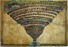 Mapa do inferno, 1480-1490 Ilustração para A Divina Comédia de Dante Sandro Boticelli (Florença, entre 1444-1445 — 1510) Bibliotheca Apostolica Vaticana, Roma