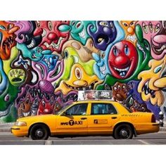 Taxi and mural painting in Soho NYC Canvas Art - Michel Setboun (22 x 28)