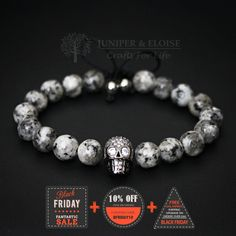 Skull Bracelet, Mens Bracelet, Zircon Skull Christmas Gift, Skull Charm, Skull Bracelet, Wholesale Available by JuniperandEloise on Etsy