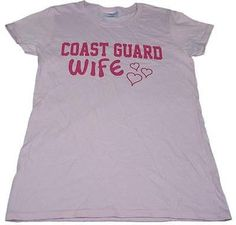 Gilden Ladies Size Large Military Coast Guard Wife Pink T-Shirt